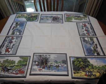 Vintage Tablecloth Currier & Ives Four Seasons Spring Summer Fall Winter, Cabin Cute, FarmHouse
