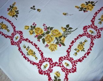"Vintage PARISIAN PRINTS ""Rose Filigree"" Tablecloth Bright Colors Yellow Roses"