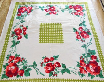 Vintage STARTEX Tablecloth Red Roses Green Chartruse Lattice Fence Cottage Chic, Farm House