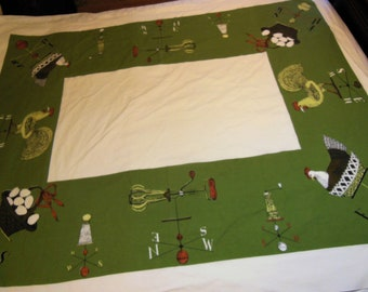 Vintage LOIS LONG Tablecloth Country Farmhouse style, Chickens, Eggs, Cottage, cabin