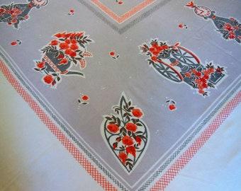 "Vintage GARDEN STATE Tablecloth ""Antique Shop"" Orange Roses, Trivets, Clocks, Teapots, Coffee Mill"