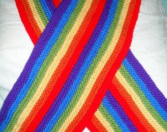 Double Rainbow Knit Scarf