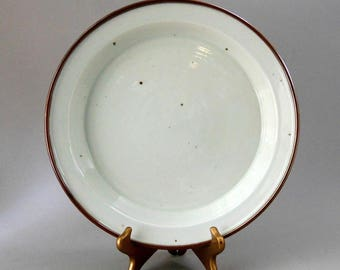 DANSK 13in Round Deep PLATTER Brown MIST Stoneware Off White Rust Brown Niels Refsgaard Design Danish Modern Serving Made Denmark Ex Cond