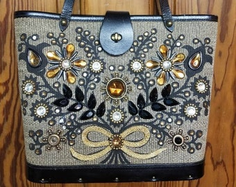 ENID COLLINS PURSE // Jewel Bokay Bejeweled Leather 60's Woven Tweed Gold Bow Amber Flowers Studs Mad Men Mrs. Maisel Black Silver Texas