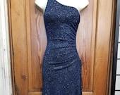 CYBER Y2K BLUE DRESS 90 39 s Sapphire Blue Glitter Sparkle One Shoulder Sexy Prom Dress Size S Ruching Hi Low Rave Club Wear Bodycon Dancer