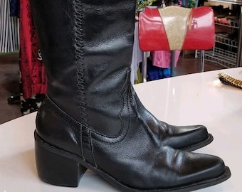 46def0230e96 MIA BLACK LEATHER Boots    Vintage 90 s Cowbowy Size 8.5 Pointy Western  Fall Mid Calf Southwestern Goth Punk Witch
