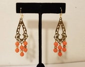 ORANGE BEAD EARRINGS Vintage 60 39 s Cut Out Costume Pierced Drop Dangle Estate Gold Bronze Teardrop Wedding Boho Hipster Festival