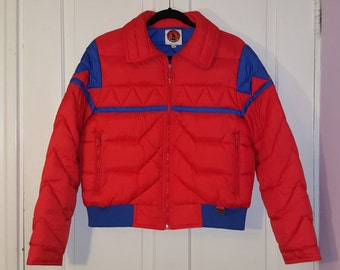 MOUNTAIN GOAT by White Stag SKI Jacket    Bright Orange and Blue Puffer  Down Women s Jacket Size L 70 s Puffy Coat Winter Retro 619776593