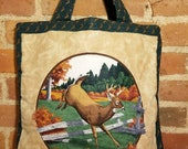 WHITETAIL DEER PURSE Handmade With Love Deer Tote Bag Carry All On Travel Bag 80 39 s Quilted Brown Forest Hunter Green Farm Outdoor Hunting