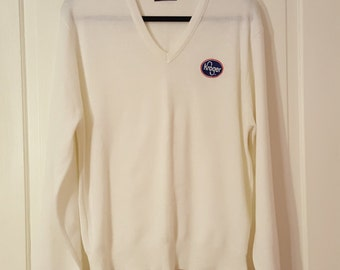 70aeb121a7 PINE STATE SWEATER    Vintage Winter White Kroger Grocery Store Supermarket  Sweater Classic Men s Size xl V Neck