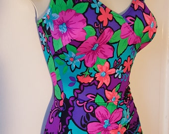 faf1b84fb3024 MAXINE OF HOLLYWOOD Swimsuit   Vintage 60 s Bright Floral Bombshell Pin Up  Beach One Piece Festival Dancer Plus Size 12 Neon Ruched Boyshort