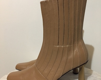 722d3dbd6fb BROWN LEATHER BOOTS // Vintage 90's Geometric Heels Mid Calf Boots Genuine  Leather Newport News Easy Style Ribbed Booties Size 9 Retro Mod