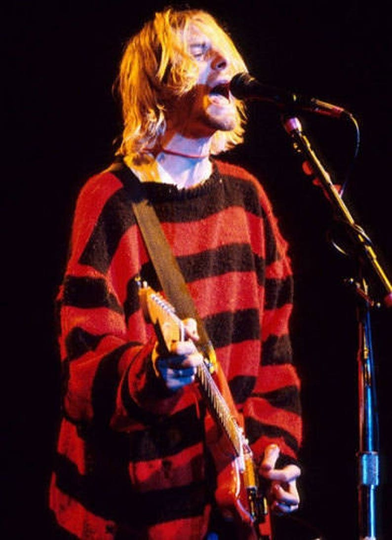 90 s KURT Cobain STRIPED Sweater    Winter Red Black and  0cbfb402cfa