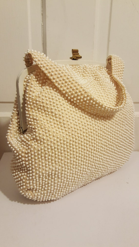 PEARL BEADED PURSE    40 s Winter Creamy White Ivory