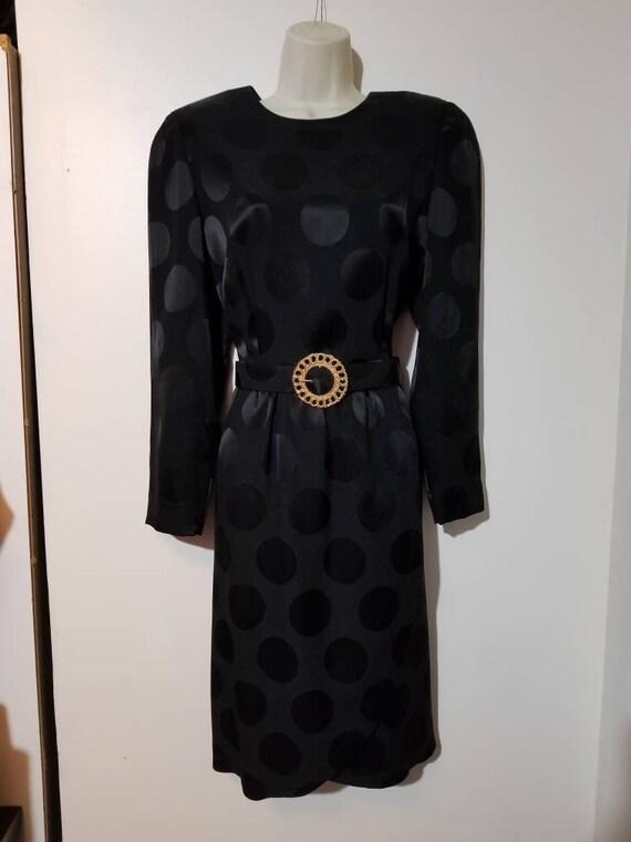 BLACK POLKA DOT Dress // 90's Liz Claiborne Silky