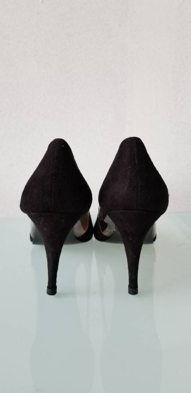 46c7aad61ddc0 NINA GLASS SLIPPERS // 80's Black Suede Leather Spain Heels Pumps See  Through Size 9 Party Valley Girl Halloween Costume Deadstock