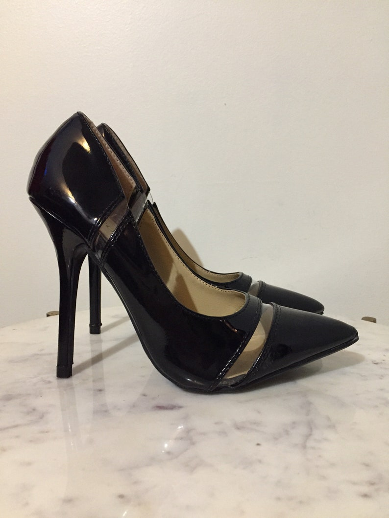 7e71823c5b918 BLACK PLEASER HEELS // Wild Diva Patent Leather Cut Out Clear Stiletto  Heels Pumps Size 5 Party Valley Girl Dancer 4 Inch Heels Pointy