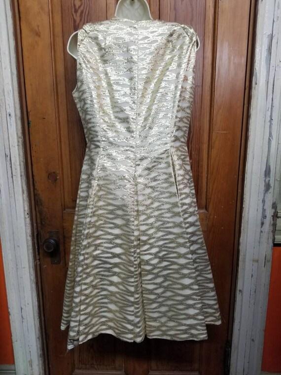 60's ROMANTICA by VICTOR COSTA Dress // Metallic … - image 7