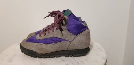 for sale lowest price elegant appearance HI-TEC HIKING Boots // 90's Suede Trail Ankle Boots 80's Gray Purple Size 5  Lace Up Tomboy Vacation Camping Festival Wear