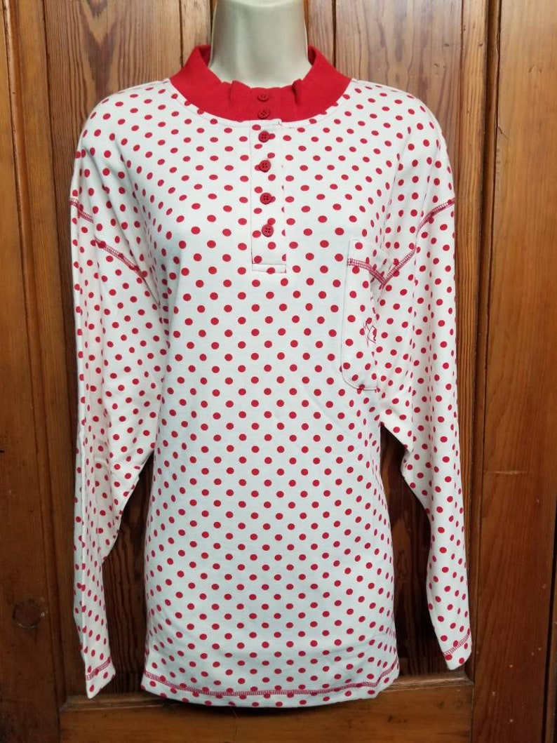 POLKA DOT TOP  80/'s Chic Lipstick Red White Blouse Long Sleeve Plus Size 20 Roseanne Full House Blossom Saved by the Bell Deadstock Nos