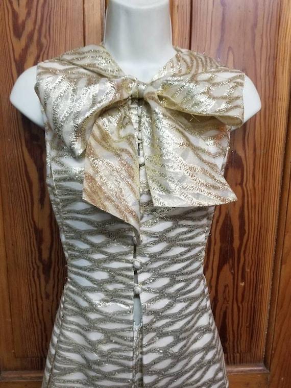 60's ROMANTICA by VICTOR COSTA Dress // Metallic … - image 5