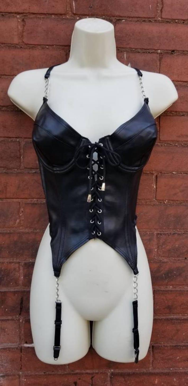 CHAIN LEATHER BODYSUIT Black Mesh Frederick/'s Of Hollywood S/&M Lace Up Underwire Bra Dancer Goth Witch Dominatrix Dancer 90/'s Garter Belt 36