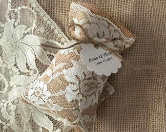 10 burlap ivory color lace wedding favor bags, personalized tags, bridal shower or baby shower.