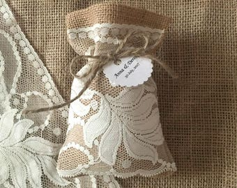 10 burlap natural color lace wedding favor bags, personalized tags, bridal shower or baby shower.