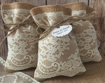 10 burlap and natural color lace wedding favor bags, personalized tags, bridal shower or baby shower.