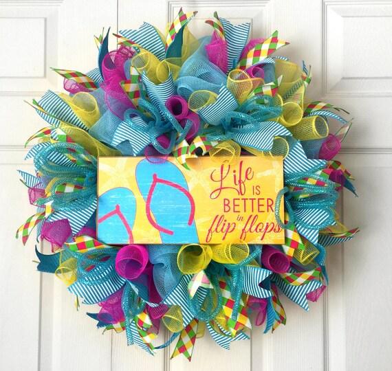 e111e372bad3a8 Summer wreath flip flops summer wreath