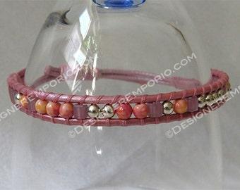 Peach-pink rainflower stone w sterling silver bead wrap bracelet & pink leather adjustable cords. Handmade, cuff bracelet