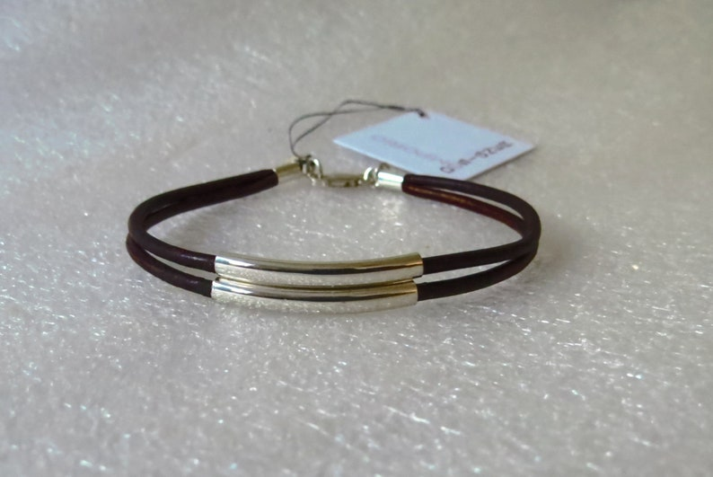 Unisex Urban SS heart pendant 9 leather colors unique double strand leather bracelet w 2 lge sterling silver tube beads handmade