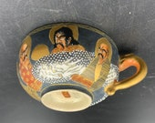 Satsuma Ware Meiji Period Pottery Tea Cups Set of 3 Immortals Geisha Antique Moriage Enameled Gilt MINT