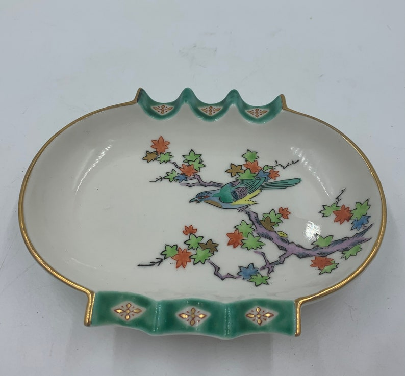 Handpainted Porcelain MIJ Ashtray Trinket Dish with Tree Branch and Bird