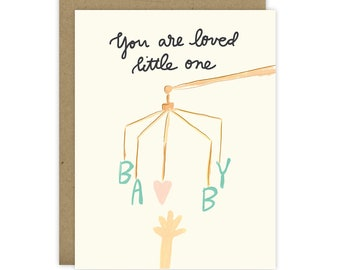 New Baby Card, Sweet card for baby shower, Baby Shower Card, Card for New mom, Baby Mobile, New baby greeting card, You are loved little one