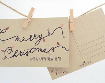 Christmas Postcards - Christmas postcard Set - Merry Christmas & A Happy New Year Postcard Pack