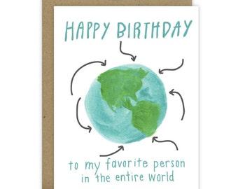 Happy Birthday Card, Best Friend Birthday Card, BFF Birthday Card, Birthday Card for Friend, Favorite Person, Best in the world, b-day world