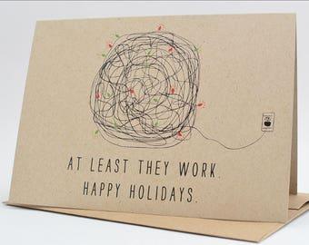 Funny Christmas Cards / Christmas Card Set Funny  / Funny Holiday Card Set / Christmas Tangled Lights Card Pack