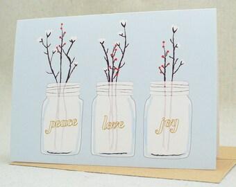 Christmas Cards / Christmas Card Set / Holiday Card Set / Card Sets / Peace, Love & Joy Card Pack