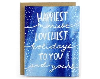 Foil Christmas Cards - Christmas Card Set Pretty Foil Christmas Card - Holiday Card Set - Happiest Merriest Holidays Card Pack