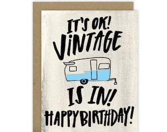 Funny Birthday Card Friend, Birthday Card for Friend, Vintage Camper Card, Grandpa card, Vintage Trailer, Vintage Camper, Canned ham