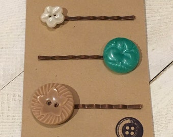 4 HEART BUTTON Hair Clip Bobby Pin Handmade Vintage Hand Made Fabric Shabby Chic