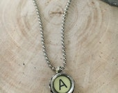 Typewriter Key Necklace, vintage jewelry, repurposed, initial necklace, steampunk jewelry