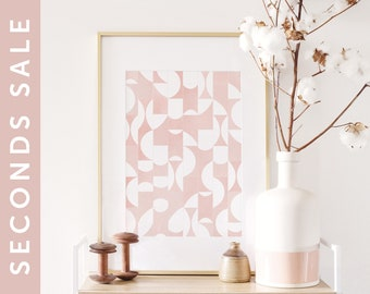 SECONDS SALE Geometric Blush Tiles Abstract A3 or A4 Art Print, Pink and White, Modern and Minimalist Abstract Prints, Art, Large Posters