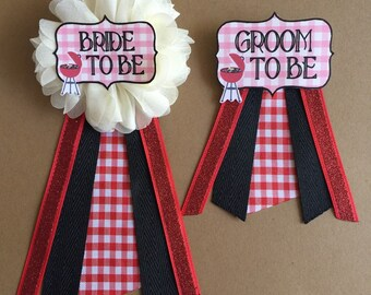 bride to be i do bbq groom to be red white flower ribbon pin corsage glitter groom to be newlyweds bridal shower