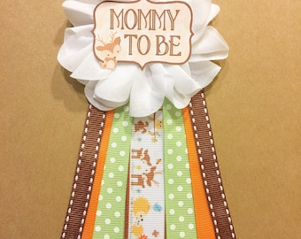 Woodland Animals Baby Shower Pin Mommy To Be Pin Flower Ribbon Pin Corsage  Mommy Mom New Mom its a boy country hunting forest animals