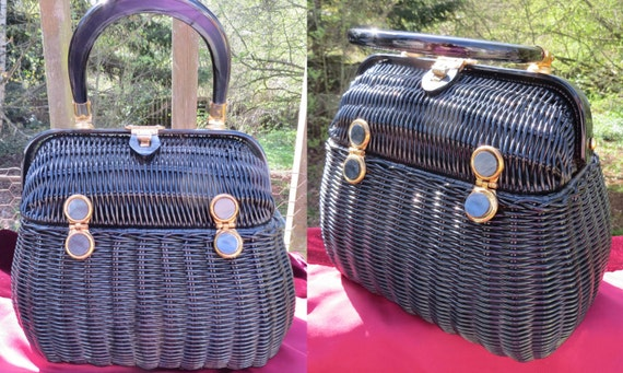 1950s basket weave purse/ basket purse/ vintage pu