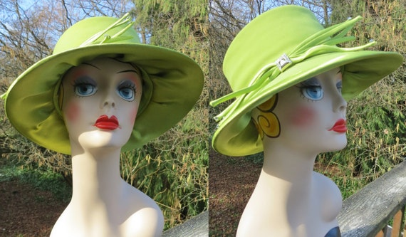 1980s green fedora style hat/ green cloche style h