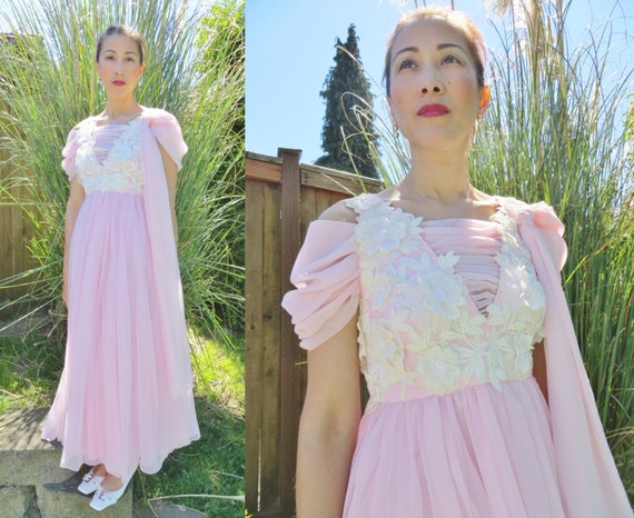 PInk 1960s dress/ pink party dress/ pink formal dr