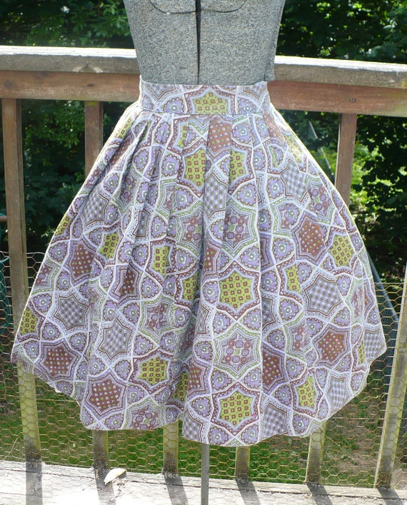 Vintage circle skirt/ Purple paisley circle skirt,